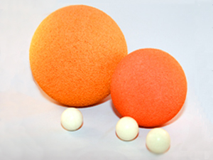 Sponge Rubber Balls; Cleanout Balls; Washout Balls. Available in custom sizes and shapes for flanges, plates and rollers, etc. High Tear Strength Flexible White Polyurethane Open Cell Molded Foam